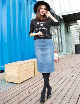 YCCW8-0034 高腰显瘦中长款牛仔包裙 蓝色 XS