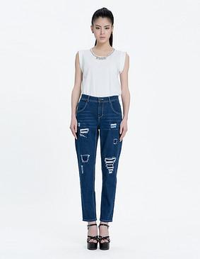 YCAL8-1150 时尚金属质感钉珠T恤 白色 S