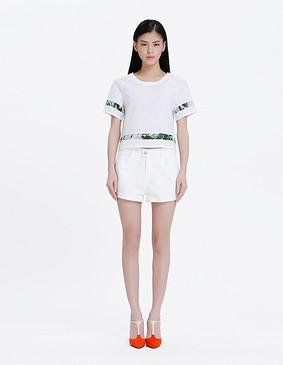 YCAL1-5000 百搭卷边短裤 白色 XS