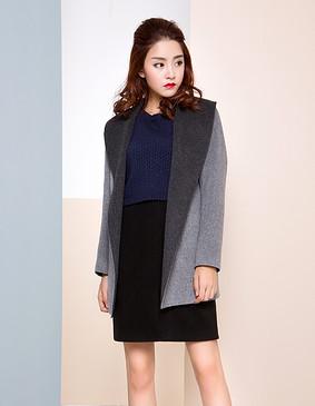 【特惠】 YCDW8-0018 时尚大翻领中长款双面羊毛大衣 灰色 L