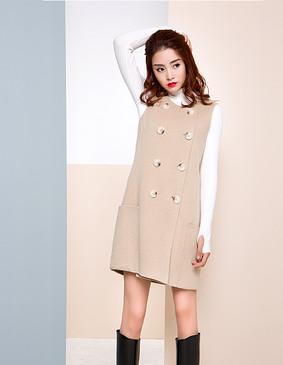 【特惠】 YCDW9-0020 时尚简约双面呢马甲连衣裙 驼色 L