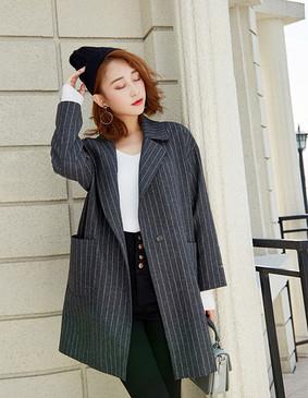 YCDQ-053 茧型条纹呢子大衣 灰色 L