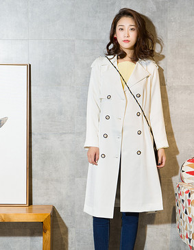 YCCL2-204 光感廓形开叉长袖风衣 白色 S