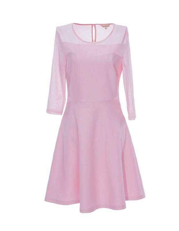 【伊霓裳】YCAL1-1000 拼接网布收腰气质连衣裙