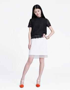 YCAL2-3300 时尚简洁欧根纱拼接半裙 白色 S