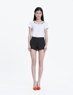 15610 简洁超短裤 黑色 S