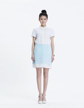 YCAL2-3600 精致撞色花瓣雪纺半裙 天蓝色 S