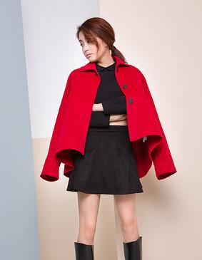 【特惠】 YCDW9-0003 A型大摆优雅俏皮双面呢大衣 红色 L