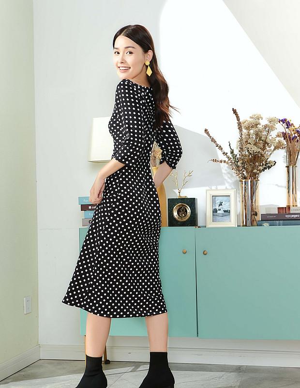 【伊霓裳】D190907-1 法式茶歇波點心機連衣裙