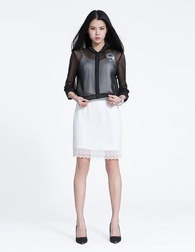 YCAL1-8100 时尚蕾丝拼接小包裙 白色 S