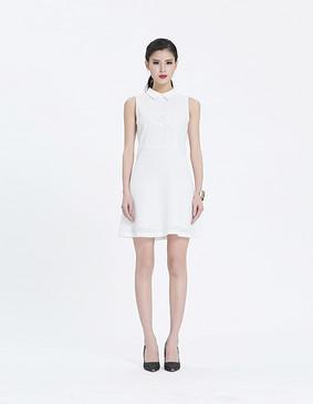 YCAL3-1050 时尚大气粗网连衣裙 白色 S