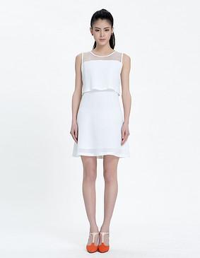 YCAL3-1120 假两件粗网连衣裙 白色 S