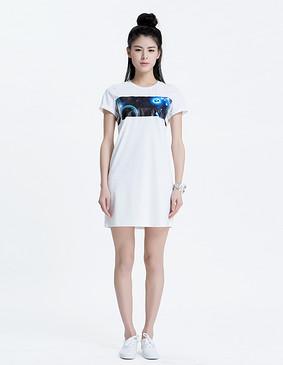 YCAL6-1810 星空针织连衣裙 白色 S