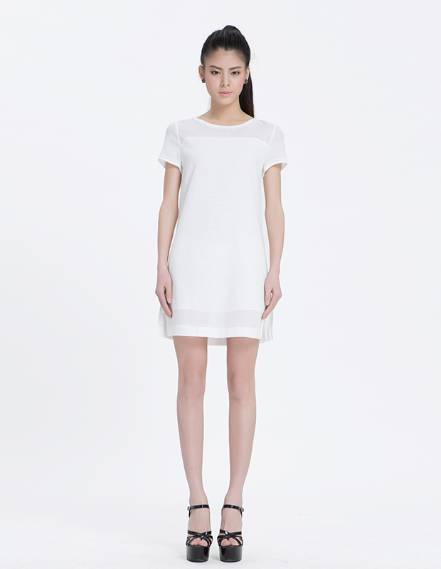 【伊霓裳】YCAL3-6600 粗网布拼接连衣裙