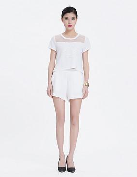 YCAL3-1690 粗网绣花拼欧根纱上衣 白色 S
