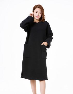 YCDL9-445 肌理针织开叉连衣裙 黑色 S