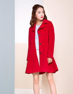 【特惠】 YCDW9-0019 甜美名媛范双面呢大衣 红色 L
