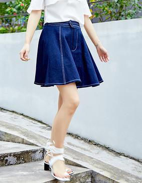服装积分兑换 YCBQ-736 A型牛仔半裙 蓝色 S