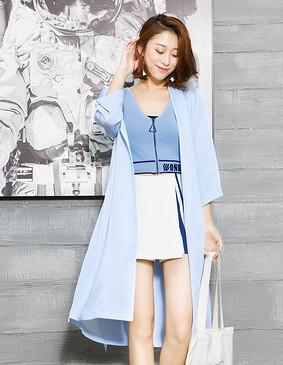 YCCQ-023 飘逸绣花和服式外套 淡蓝色 S