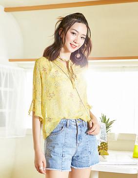 YCAB-018 V领荷叶袖印花雪纺衫 姜黄色 L