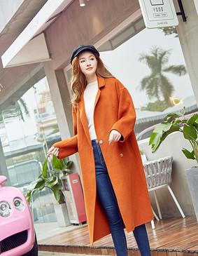 YCDB-0001 纯澳毛茧型长款双面呢大衣 焦糖红色 L