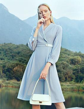 D191059 解语浪漫法式条纹连衣裙 雾蓝色 2XL