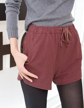 YCCW8-0012 舒适休闲短裤 酒红色 S