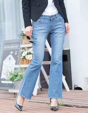 YCCW8-0035 时尚百搭牛仔喇叭裤 蓝色 XS