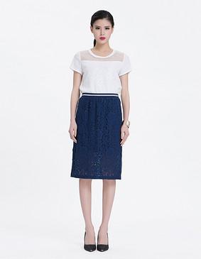 YCAL6-1230 运动风蕾丝半身包裙 蓝色 S