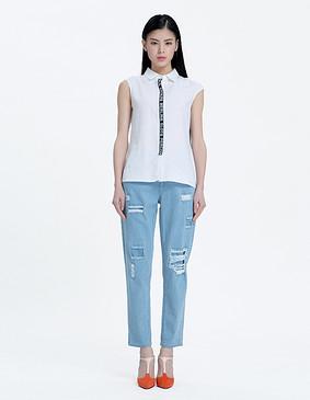 YCAL6-8300 时尚字母撞色边衬衫 白色 S