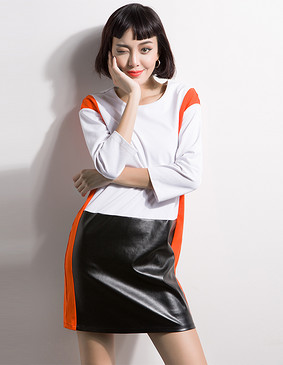 YCCL1-320 巴洛克极简撞色拼接连衣裙 白色 XS