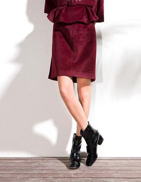 YCDL4-292 开衩呢直筒裙 酒红色 S