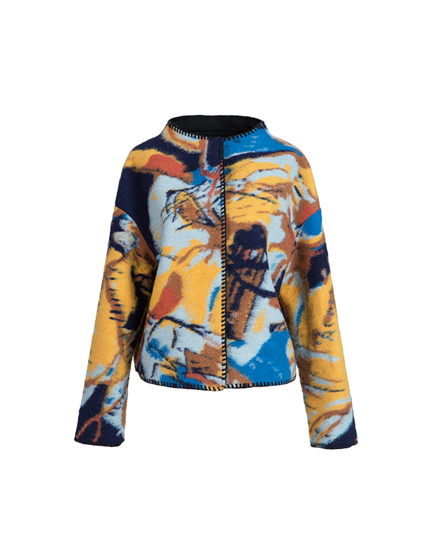 【伊霓裳】YCDL6-394 油彩提花落肩结构短呢大衣