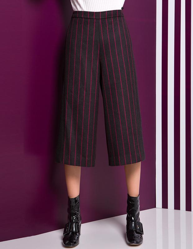 【伊霓裳】YCDL7-437 条纹撞色拼接八分阔腿裤