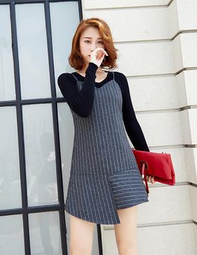 YCDQ-018 荷叶边条纹吊带连衣裙 灰色 L