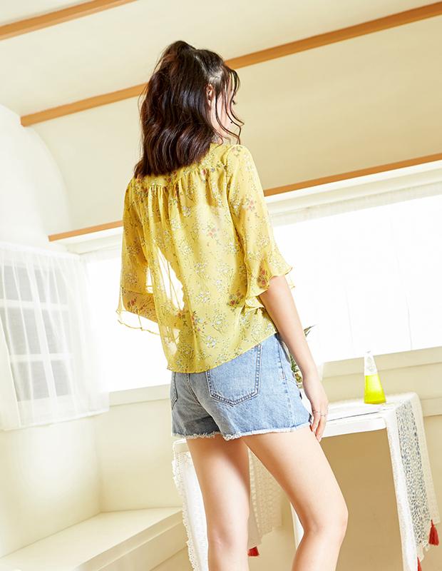 【伊霓裳】YCAB-018 V领荷叶袖印花雪纺衫