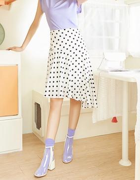 服装积分兑换 YCAB-017 复古波点鱼尾半裙(赠送松紧发带) 黑白波点 XS