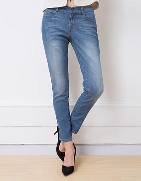 YCCW8-0002 百搭显瘦弹力舒适牛仔长裤 蓝色 XS
