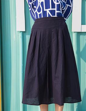 YCCW8-0016 棉麻百褶半身裙 藏青色 S