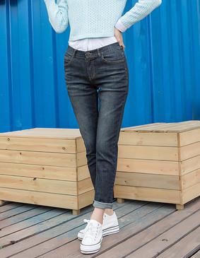 YCCW8-0026 百搭显瘦弹力舒适牛仔长裤 蓝色 XS