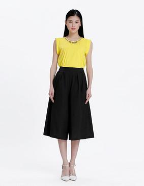15619 9分休闲裙裤 黑色 S