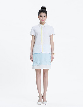 YCAL8-1160 优雅蕾丝领撞色边衬衫 白色 S