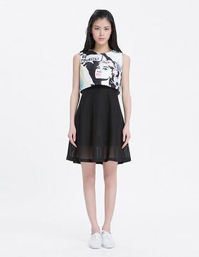 YCAL2-2170 波普印花假两件连衣裙 黑色 S
