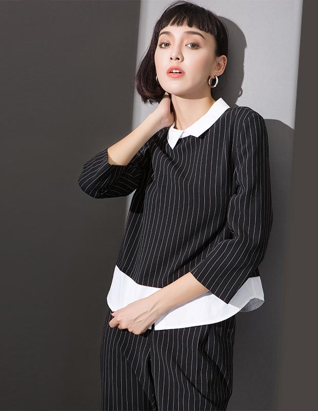 【伊霓裳】服装积分兑换 YCCL1-236 衬衫假两件式条纹八分袖上衣
