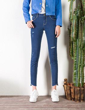YCCL2-368 复古破洞毛边弹力修身牛仔裤 蓝色 S