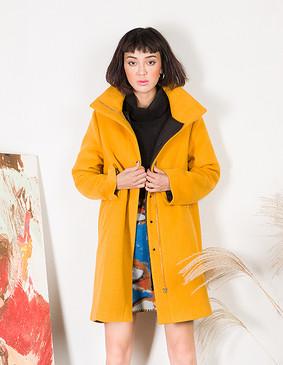 YCDL6-411 结构两件套呢大衣 黄色 S