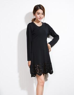 YCCW-1013 精致绣花款显瘦毛织连衣裙 黑色 S