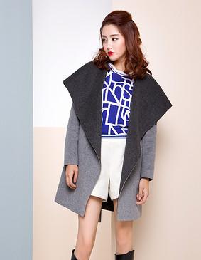 【特惠】 YCDW8-0008 大翻领系腰带双面羊毛大衣 大红色 L