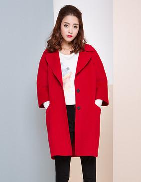 【特惠】 YCDW6-0010 汉服袖中长款大衣 大红色 L