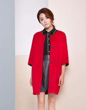 【特惠】 YCDW9-0015 中长款茧型时尚优雅双面呢大衣 红色 L